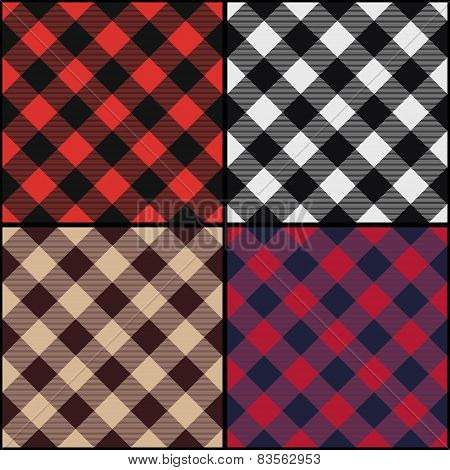 Lumberjack Plaid Diagonal Seamless Pattern Set.