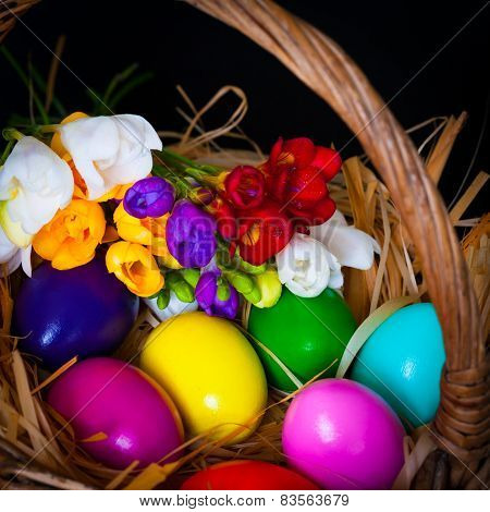 Easter Eggs And Freesia In Basket