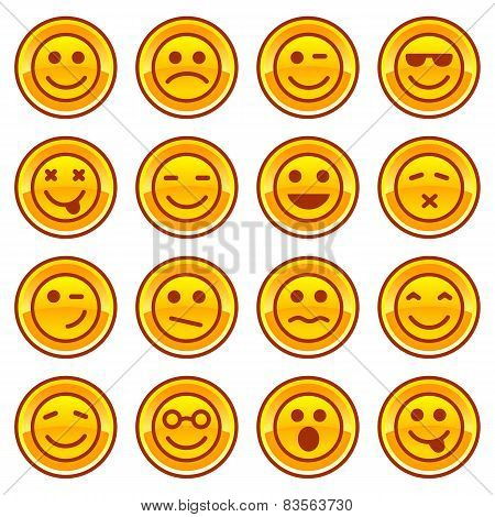 Smiley coins gold icons, signs symbol set