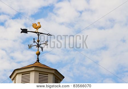 Rooster weather vane against  cloudy sky background