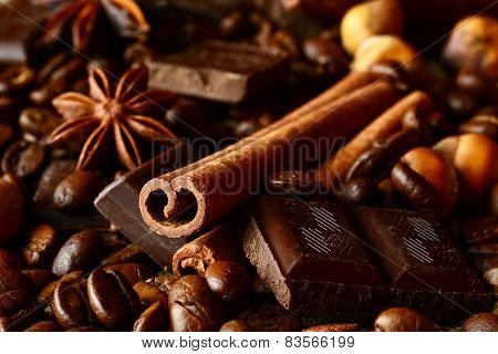 Aromatic Assortment Of Chocolate,coffee,anise, And Cinnamon On L