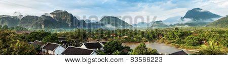 View For Panorama In Vang Vieng, Laos.