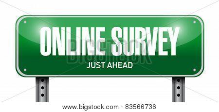 Online Survey Road Sign Illustration Design