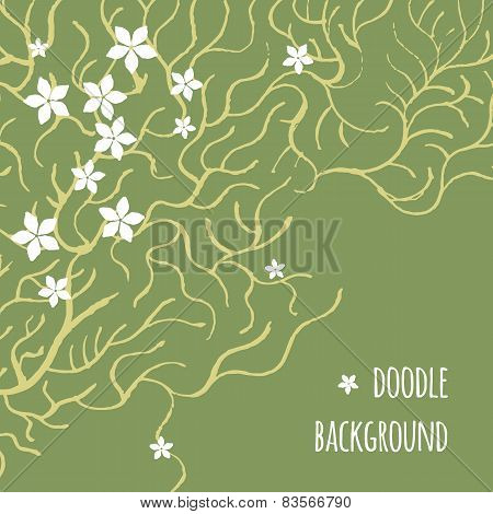 Card with pattern of branches and white flowers