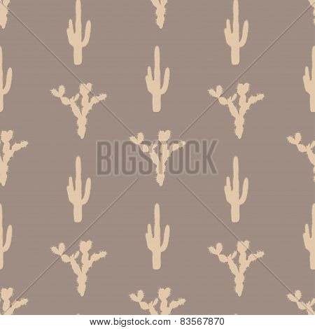 Vector seamless pattern with silhouette of cactus
