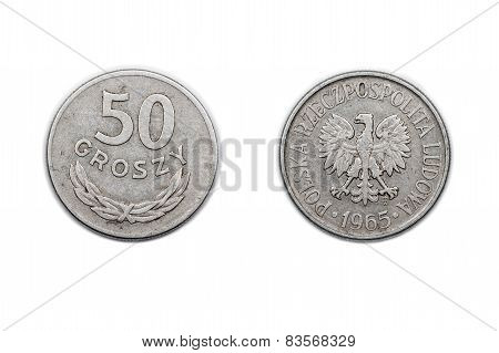 Fifty Groszy coin from Poland 1965