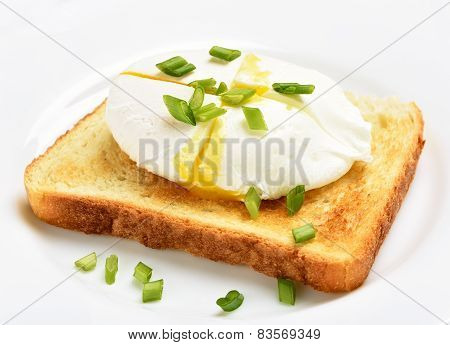 Poached Egg On Bread Over White Plate