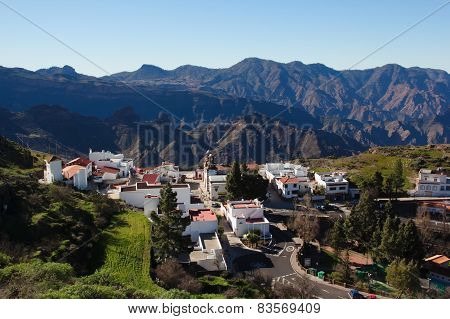 View Of Mountain Village Artenara In Gran Canaria