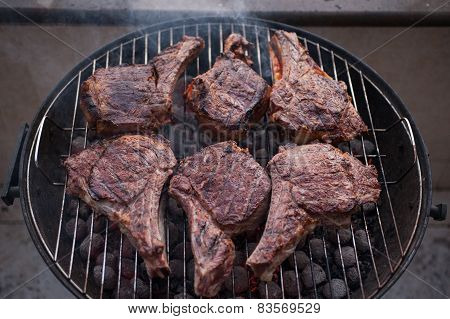 Big Beef Steaks On Bone Grilled  Barbecue