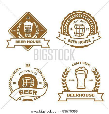 Set of monochrome badge, logo and design elements for beer house, bar, pub, brewery, tavern, restaur