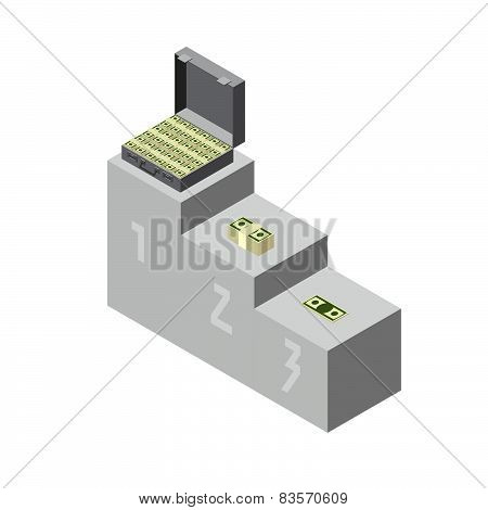 Winning for the ceremony. A suitcase of money, wads of dollars and coins. Isometric style