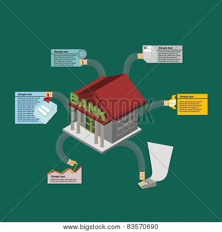 The Bank in case of money from money. The guarantee of reliability. Stocks of money. bank Isometric