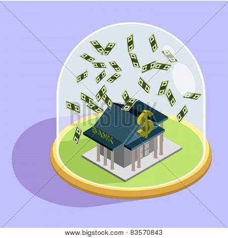 Protection of Bank. bank Isometric  Building