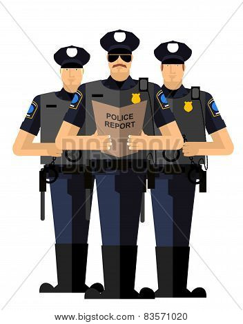 Three police officers were arrested. Police silhouette. The Arrest