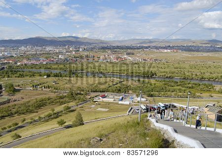 View to the Ulaanbaatar city and Tuul river from the Tolgoi hill in Ulaanbaatar,