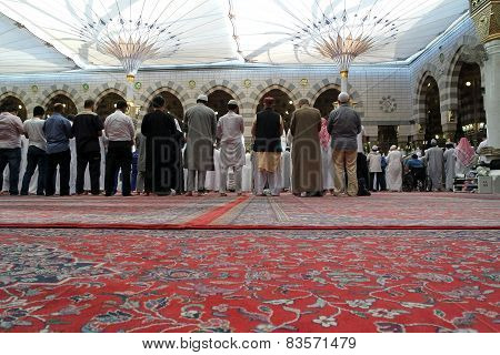 The Congregation Prayed Muslims Nabawi Mosque, Medina, Saudi Arabia