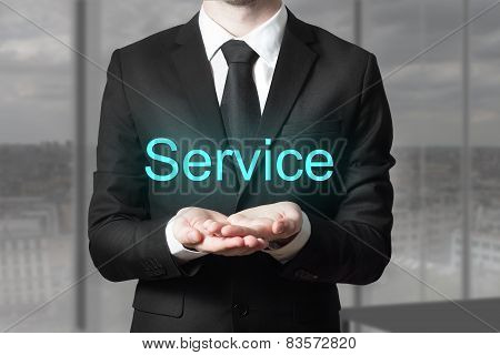 Businessman Serving Gesture Service
