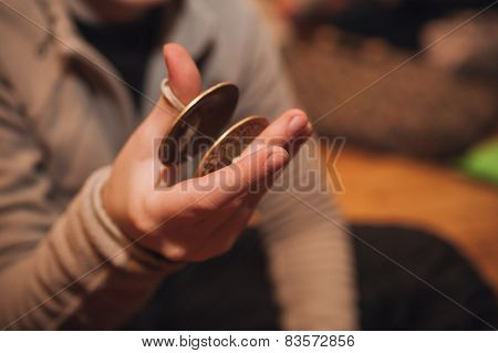 Bronze Cymbals Castanets On Hand