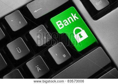 Grey Keyboard Green Button Bank Security