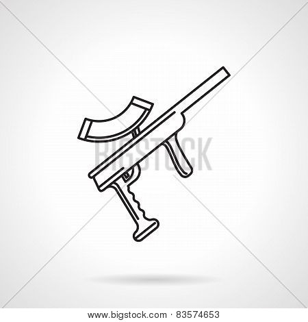 Black line vector icon for paintball gun