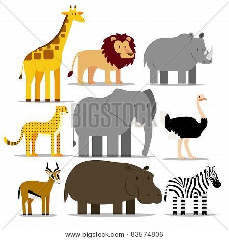 Vector Set Of Different African Animals Isolated