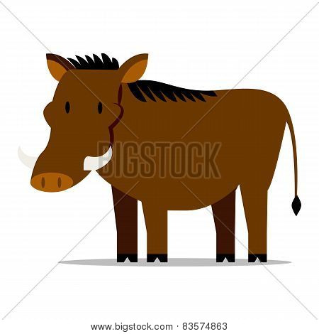 Vector Cartoon Warthog Isolated On Blank Background