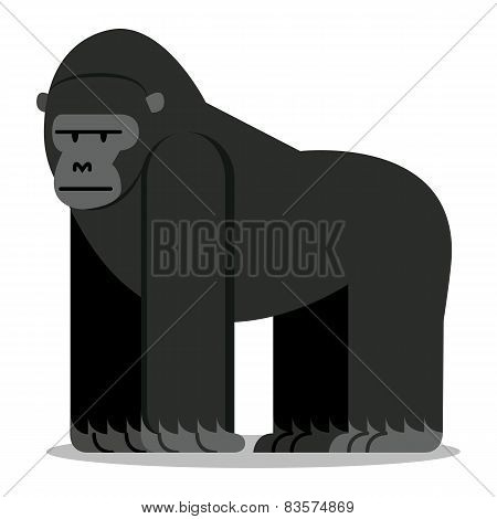 Vector Cartoon Gorilla Isolated On Blank Background