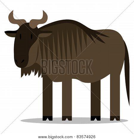 Vector Cartoon Wildebeest Isolated On Blank Background