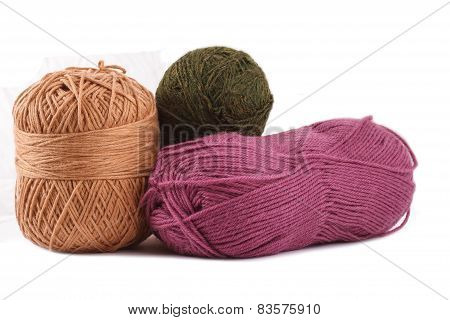 Woolen Colors On The White Background