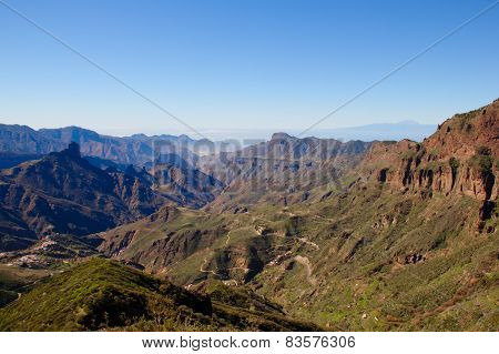 View Over Rugged Central Gran Canarian Landscape With Roque Bentayga