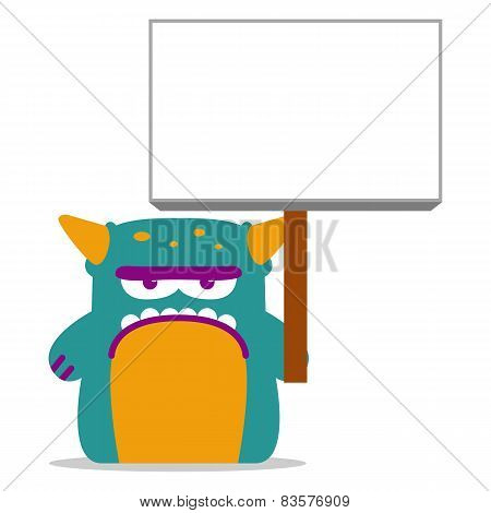 Vector Cute Monster With Space For Text