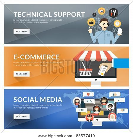 Flat Design Concept For Technical Support, E-commerce, Social Media