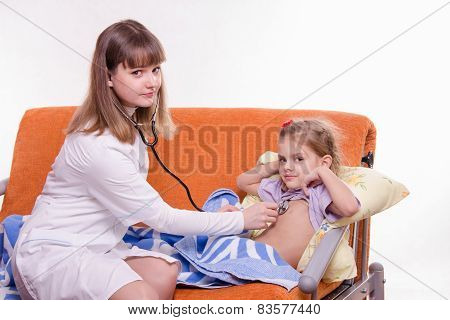 Doctor Listening Stethoscope Baby Breath