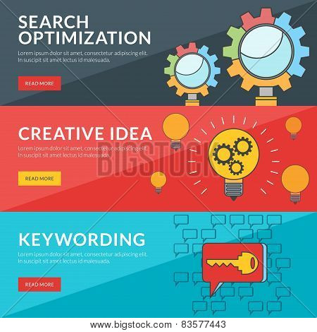 Flat Design Concept For Seo, Creative Idea, Keywording