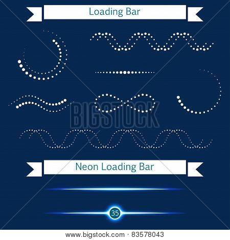 Set Of Modern Loading Bars On A Dark Background - Stock Vector.