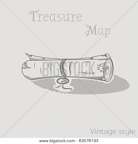 Vector Illustration Of Treasure Map