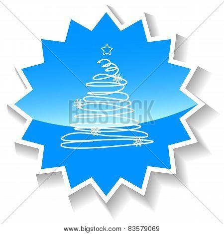 Christmas tree blue icon