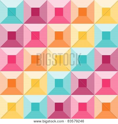 Abstract Geometric Pattern Like A Colorful Quilt
