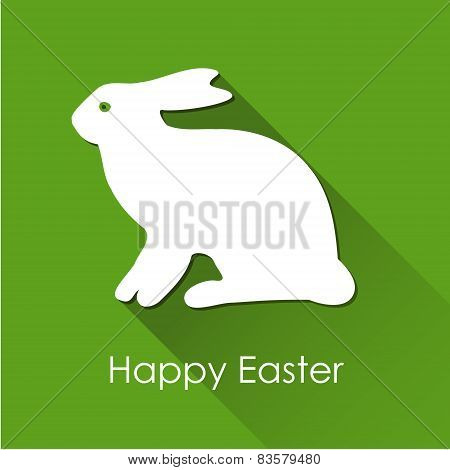 Easter Spring Card With White Rabbit, Hare And Long Shadow, Vector