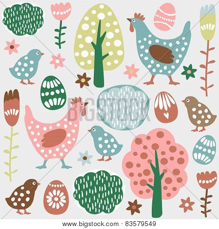 Cute Colorful Seamless Easter Spring Vector Pattern, Eggs, Hens