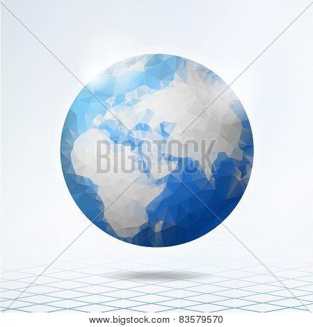 Modern Polygonal Globe, Planet Earth, Vector Background