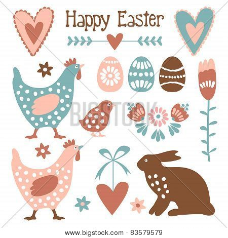 Cute Easter Elements Set With Eggs, Hens, Hare,flowers, Vectors