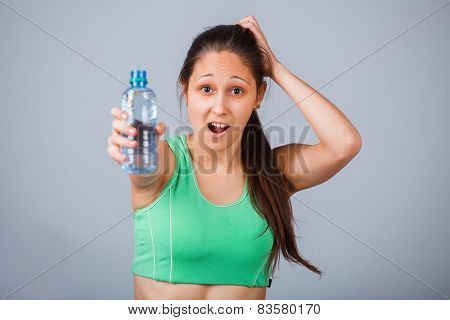 Sporty Female and bottle of water