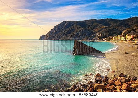 Monterosso Beach And Sea Bay. Five Lands, 5 Terre, Ligury Italy
