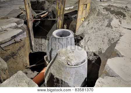 Construction Site, Sewerage In City