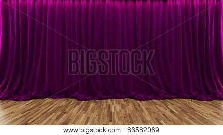 3D Rendering Theater Stage With Purple Curtain And Wooden Floor