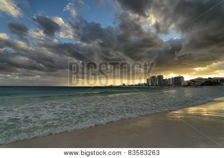 Stunning Sunset At The Caribbean Seacoast Under Tragic Stormy Sky - Blue And Golden Colors
