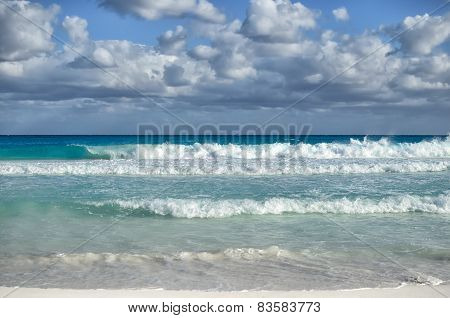White Foamy Waves And Gradually Darkening Color Of Sea Water With Stripe Of White Sandy Beach - Perf