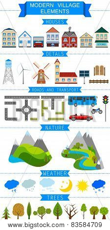 Elements Of A Modern Village Or City. Vector Illustration On Whi