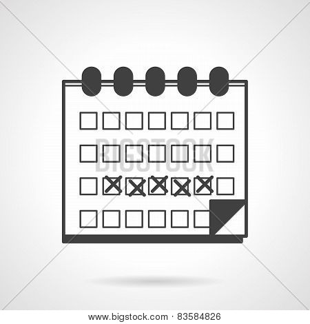 Menses calendar black vector icon